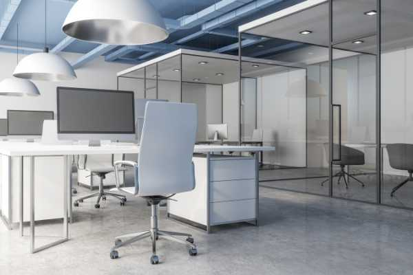 professional office with cement floor